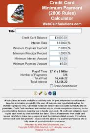 Formula Credit Card Minimum Payment Credit Card Minimum Payment 2006 Calculator