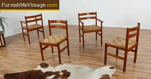 Midcentury Modern Dining Chairs - set of four danish teak mid century modern dining chairs with rush