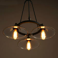 3 bulb light fixture vintage edison pendant light loft clear glass pendant lights 3 heads