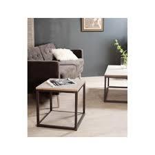 canapé style industriel bout de canapé industriel métal et bois 49x49x49 lali pier import