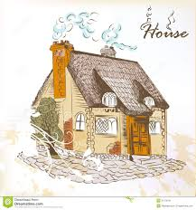 hand drawn sketch of little house in english style stock image