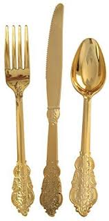 gold plastic silverware venetian collection gold plastic polished cutlery