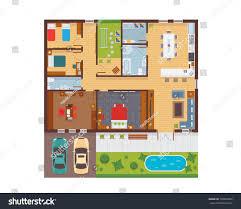 floor plan of modern family house flat modern family house interior room stock vector 730667602