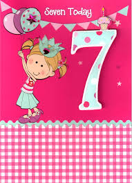 girls 7th birthday 3d 7 seven today card childrens kids quality