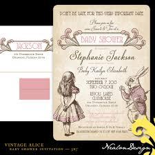 nealon design vintage alice u2014 baby shower invitation