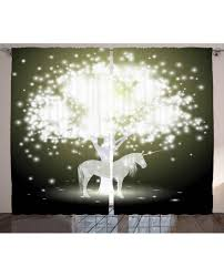 Curtains With Trees On Them Curtain Unicorn With Tree Print 2 Panel Window Drapes