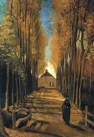 avenue poplars at sunset vincent van gogh wallpaper image