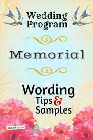 wedding memorial wording wedding program memorial wording allwording