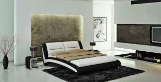 Leather Bed Headboards Contemporary Black And White Eco Leather Bed