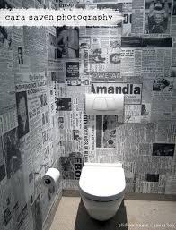 funky bathroom wallpaper ideas funky toilet wallpaper made out of old newspaper clippings home