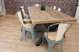 INDUSTRIAL STEEL TABLE WITH RECLAIMED AND RECYCLED OAK TOP - Rustic oak kitchen table