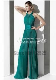 charming green chiffon prom dresses wide legs accordion pleated