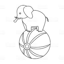 circus elephant icon in outline style isolated on white background