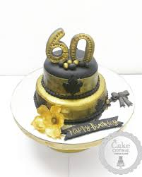 golden 60th birthday cake by cake central premier cake design