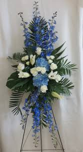funeral spray beautiful blue funeral flowers delivered in houston pasadena pearland