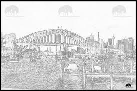 sydney harbour bridge and city skyline from lavender bay contour