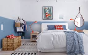 bedroom ideas awesome cool blue and orange scandinavian bedroom