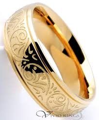 7mm ring men s 14k gold plated stainless steel 316l ring with engraved
