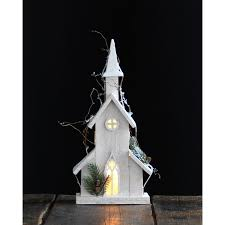 white pre lit wooden church melrose international holiday tabletop