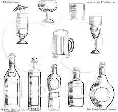 alcohol vector clipart of black and white sketched alcohol bottles and cups