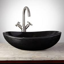 Win Bathroom Makeover - curved oval polished granite vessel sink on platform bathroom