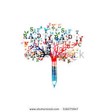 colorful pencil tree vector illustration font stock vector
