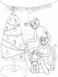 sock monkey color chipettes coloring pages print coloring