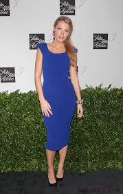 satin square royal blue blake lively dress gossip fashion
