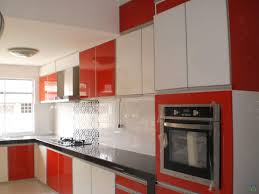 charming red and white kitchen decors with glossy red kitchen