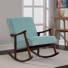 Wooden Rocking Chair For Nursery Aqua Fabric Retro Wooden Rocker Chair Overstock Shopping