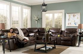 Brown Leather Armchair Design Ideas Living Room L Shape Brown Leather Living Room Sectional