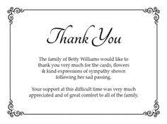 thank you cards for funeral sle funeral thank you cards pinteres