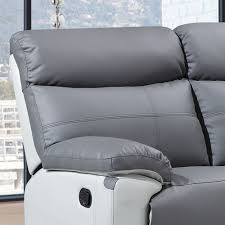 2 Seat Leather Reclining Sofa by Stirling Slate Grey Leather Recliner Collection With Pebble Grey Trim