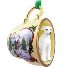 whippet teacup ornament figurine white
