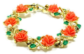 rose pearl bracelet images Coral celluloid rose and pearl bracelet vintage jpg