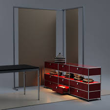 high sideboard contemporary metal with shelf haller e