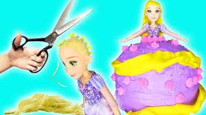 how to make homemade princess rapunzel hair dress cake baking