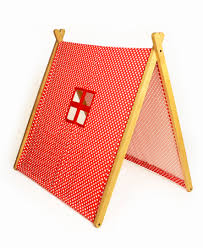 a frame tent polka dot red curioo wooden toys