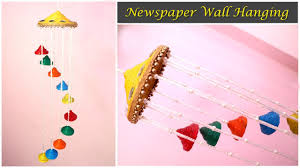 Wall Hanging Picture For Home Decoration Newspaper Wall Hanging Newspaper Wind Chime Newspaper Crafts