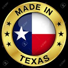 Stars On Chicago Flag Made In Texas Gold Badge And Icon With Central Glossy Texan Flag