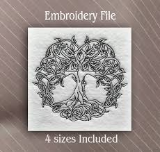 tree of embroidery design 5 sizes included sew fluffy
