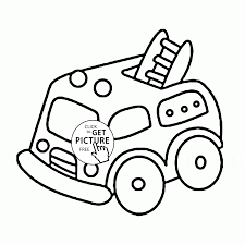 cute cartoon fire truck coloring page for preschoolers