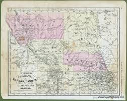 Montana Maps Wyoming Nebraska Kansas Dakota Colorado And Montana Antique