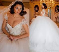 2017 luxury lace arabic ball gown wedding dresses illusion v neck