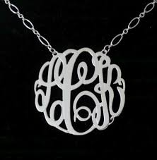 monogram necklace sterling silver 1 5 big slim sterling silver monogram necklace and chain
