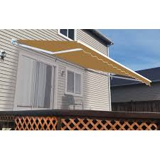A E Awnings Aleko Retractable 10 U0027 X 8 U0027 3m X 2 5m Patio Awning Solid Sand