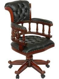 chaise de bureau fauteuil bureau anglais acajou cuir noir oxford meuble de style
