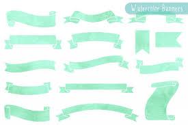 mint green ribbon mint watercolor ribbon banner clipart by aveniedigital