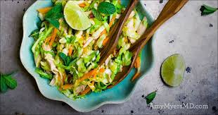 roasted chicken and coconut mixed green salad with creamy avocado