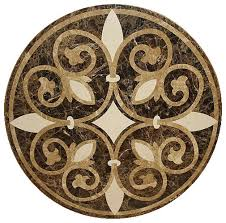 waterjet floor medallion made with marble mediterranean